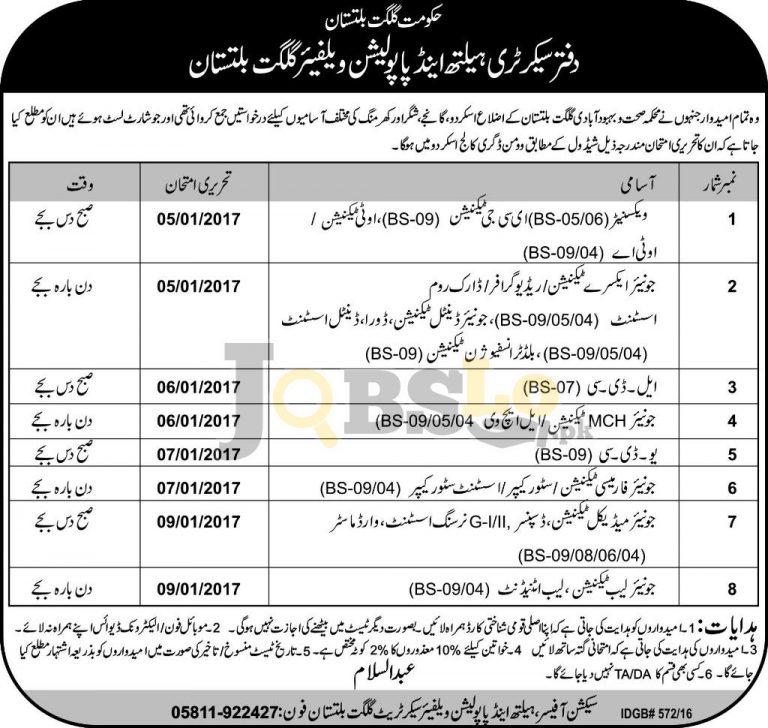 Health & Population Welfare Department Gilgit Baltistan Jobs 2017 For BS-09 To BS-04
