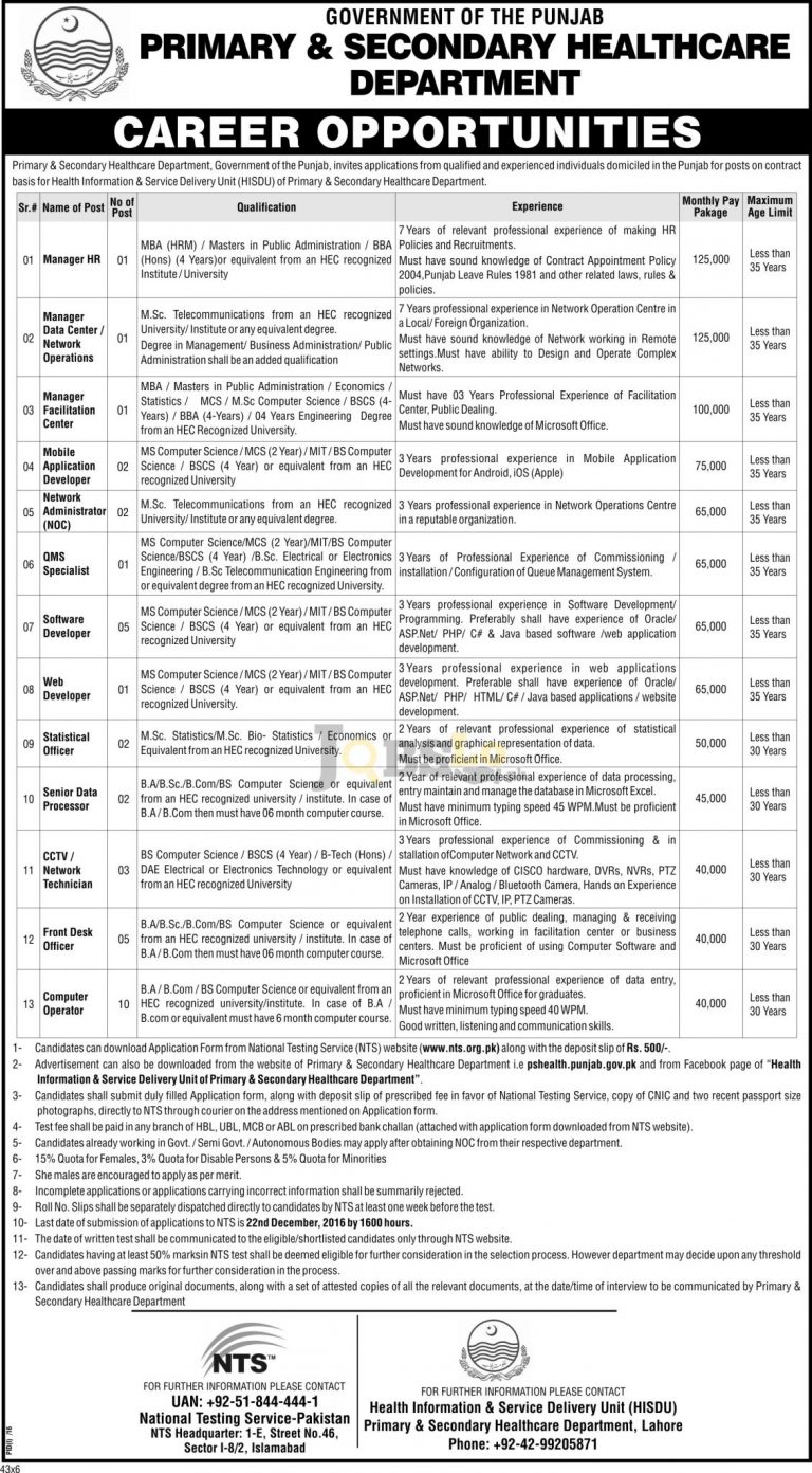 Primary & Secondary Healthcare Department Punjab Jobs 2016 NTS Test & Sample Paper