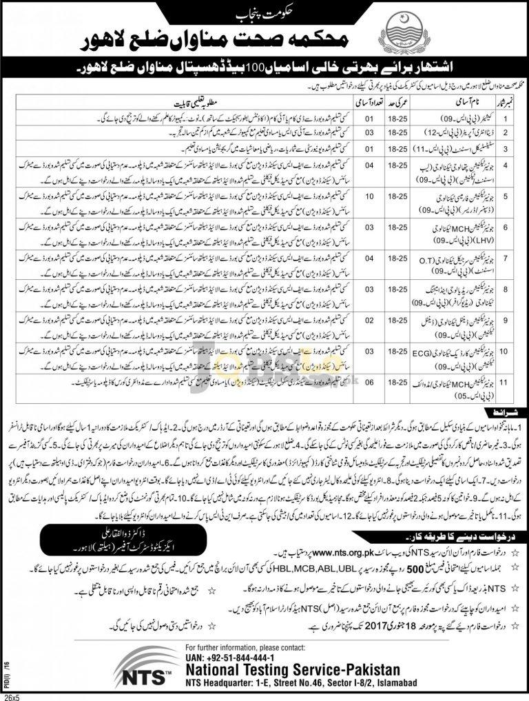Health Department Manawan Jobs 2017 District Lahore Latest Vacancies
