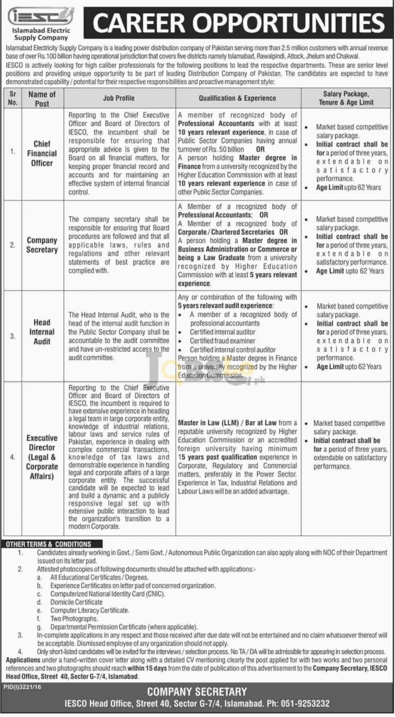 IESCO Islamabad Jobs 2017 Current Employment Opportunities