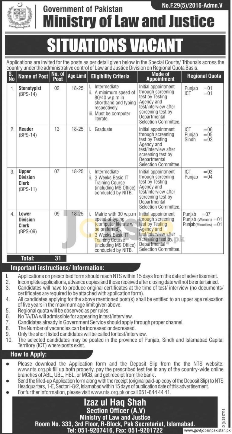 Ministry of Law & Justice Pakistan Jobs 2016 NTS Test & Roll Number Slips