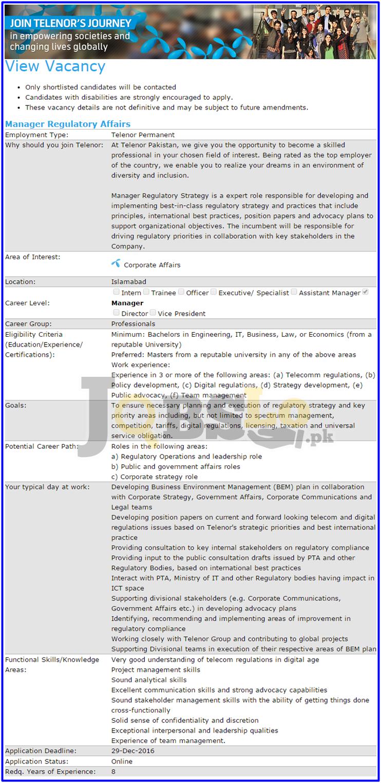 Telenor Islamabad Jobs 2016-17 Apply Online telenor.com.pk