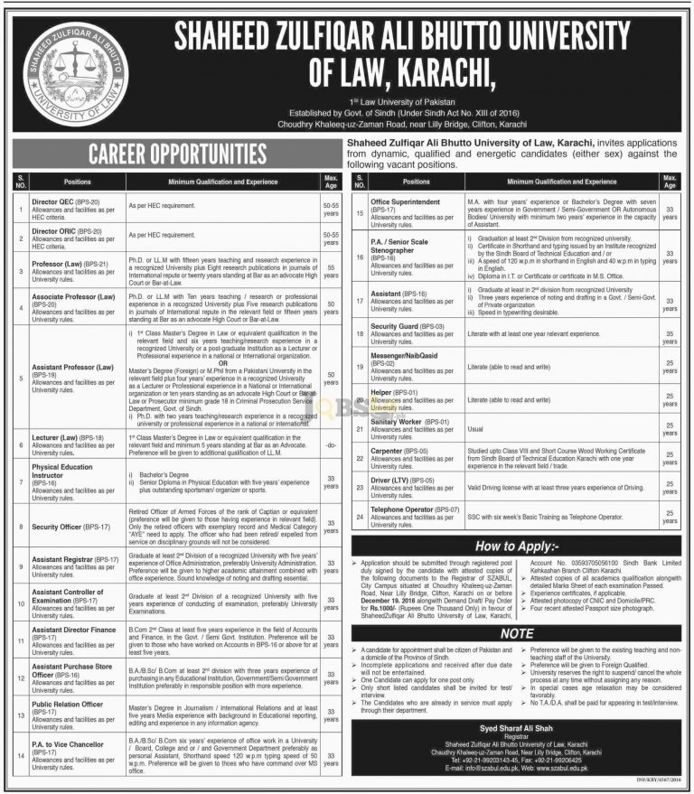 SZAB University of Law Karachi Jobs 2016 For BPS-20 To BPS-07 Career Offers