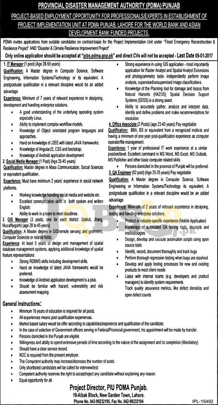 Provincial Disaster Management Authority PDMA Punjab Jobs 2017 Apply Online