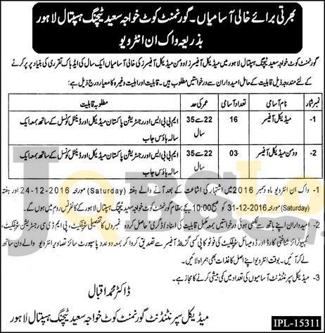 Govt Kot Khawaja Saeed Teaching Hospital Lahore Jobs