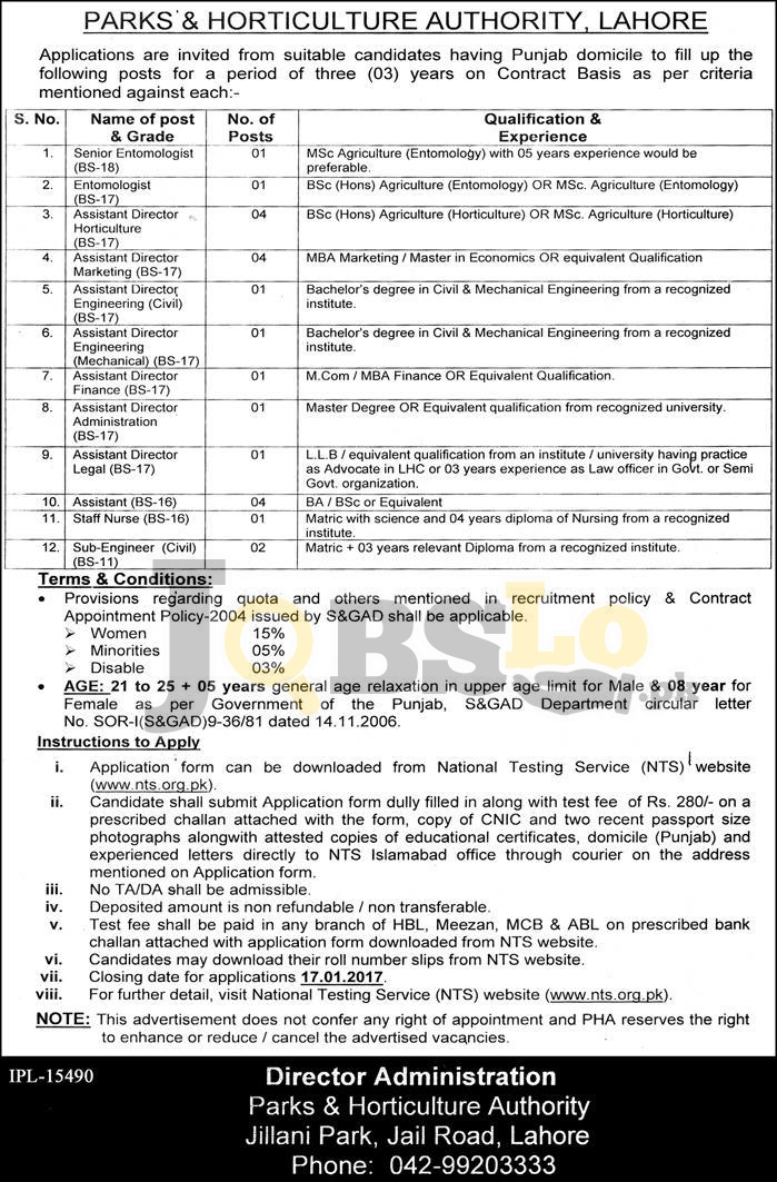 Pakistan Horticulture Authority PHA Lahore Jobs 2017 Form Online nts.org.pk