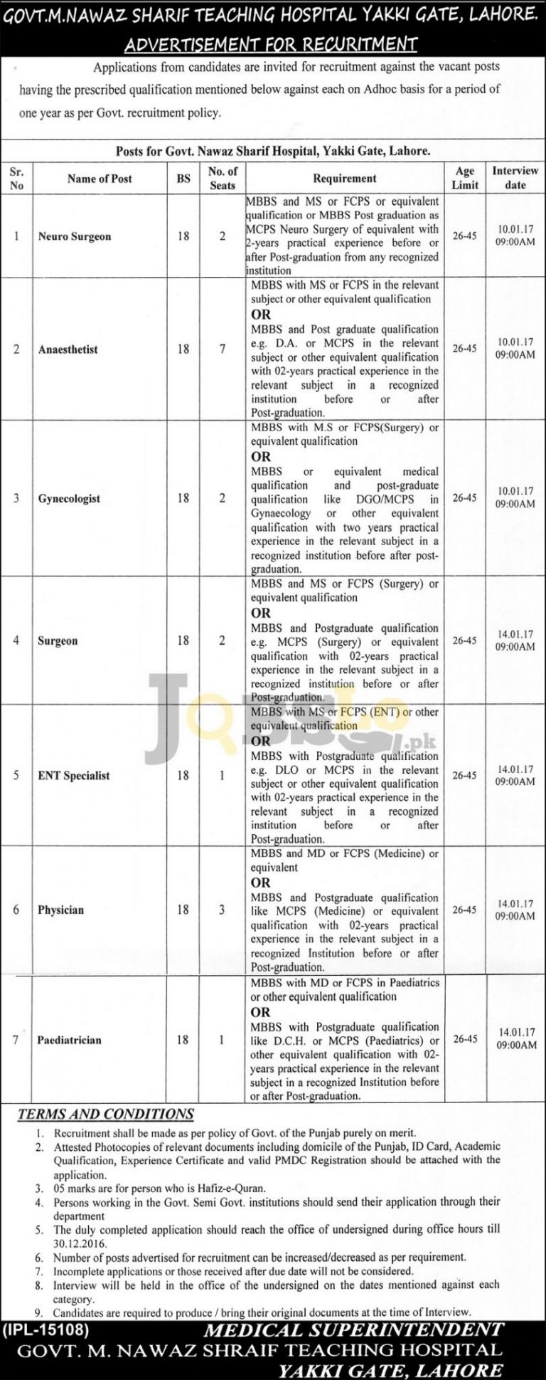Govt M. Nawaz Sharif Teaching Hospital Lahore Jobs 2016-2017 Career Offers