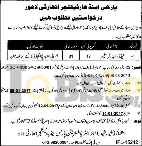 Parks and Horticulture Authority PHA Lahore Jobs 2017 Latest Vacancies