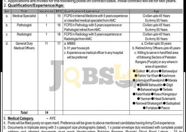 Medical Specialist Jobs 2016-17 in Pakistan Rangers Punjab Eligibility Criteria