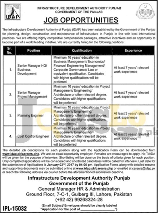IDAP Jobs 2017 Latest Infrastructure Development Authority Punjab