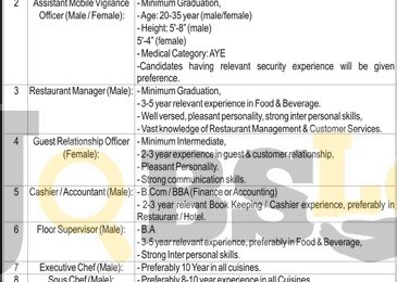 Bahria Town Lahore Jobs 2017 For Restaurant Manager Add Latest