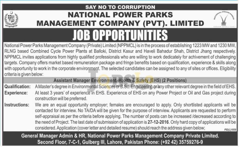 National Power Parks Management Company Jobs 2016 Ministry of Water & Power