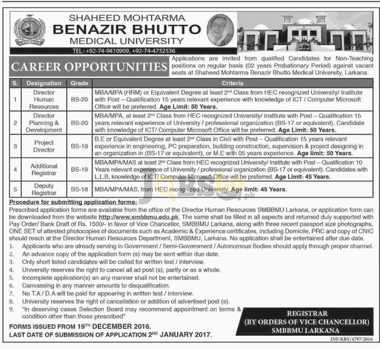 SMBBMU Larkana Jobs 2017 Application Form Download Online