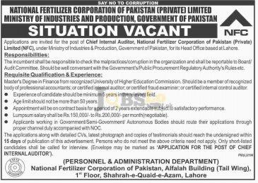 National Fertilizer Corporation of Pakistan Jobs 2017 For Chief Internal Auditor