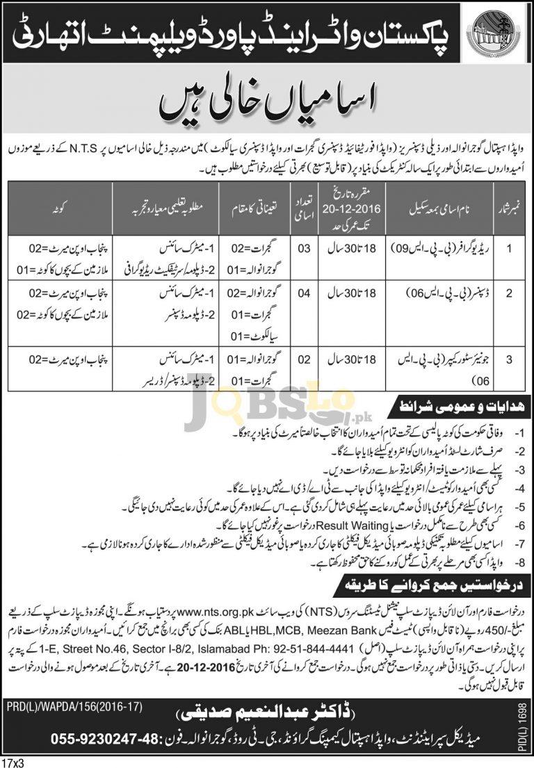 WAPDA Hospital Jobs 2016 in Gujranwala Sialkot & Gujrat NTS Form Download