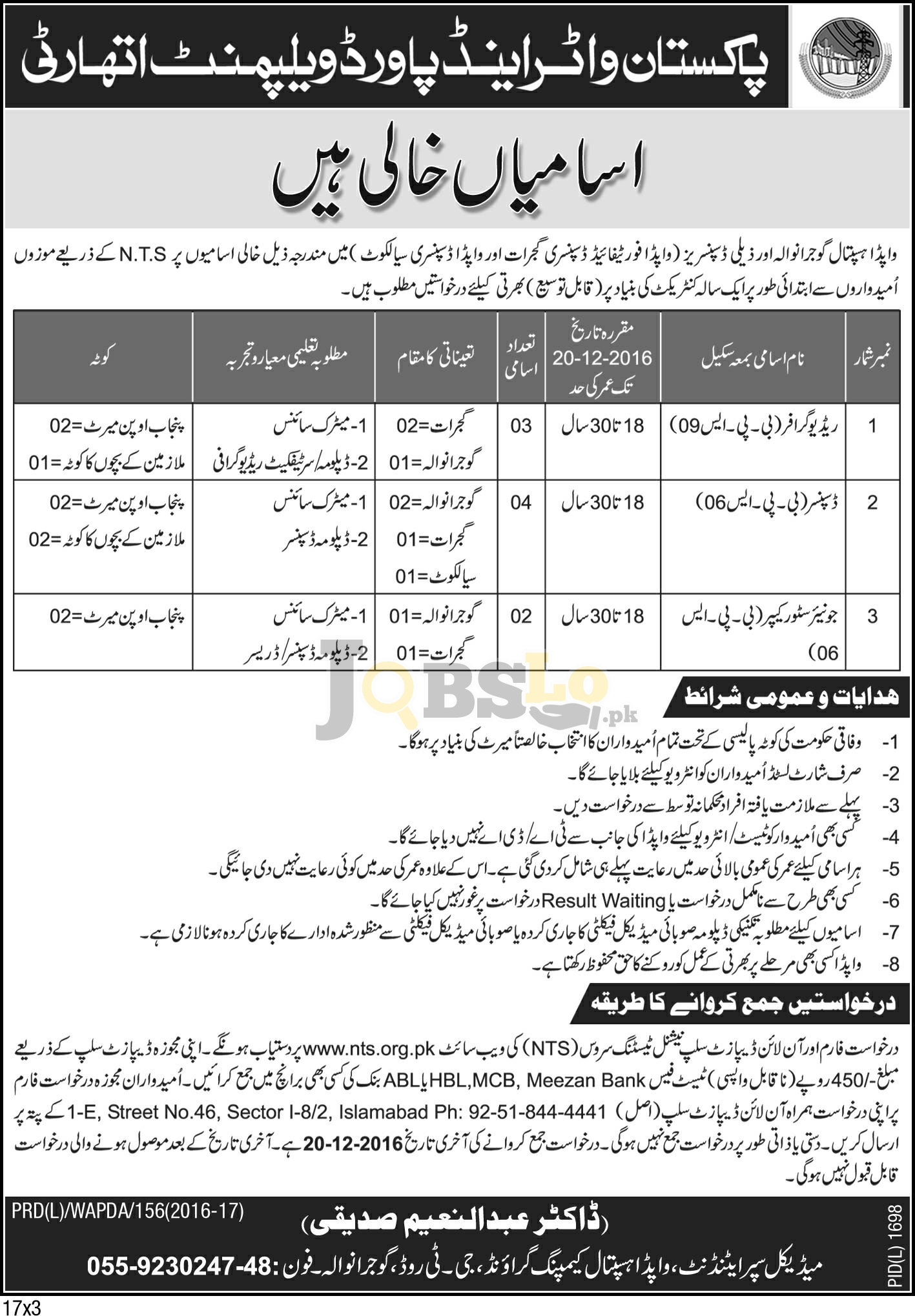 WAPDA Hospital Jobs