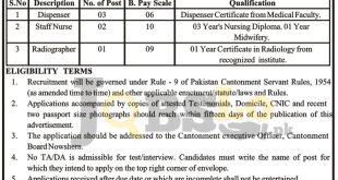 Cantonment Board Nowshera Jobs