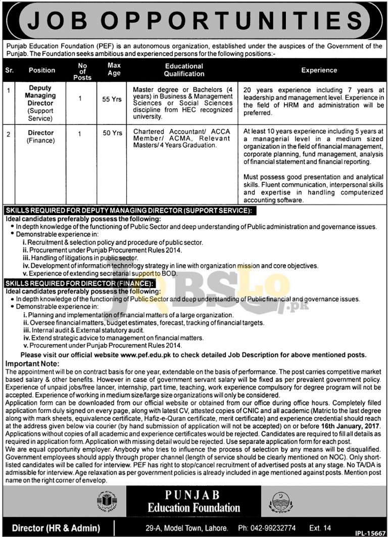 Punjab Education Foundation PEF Jobs 2017 Application Form Download