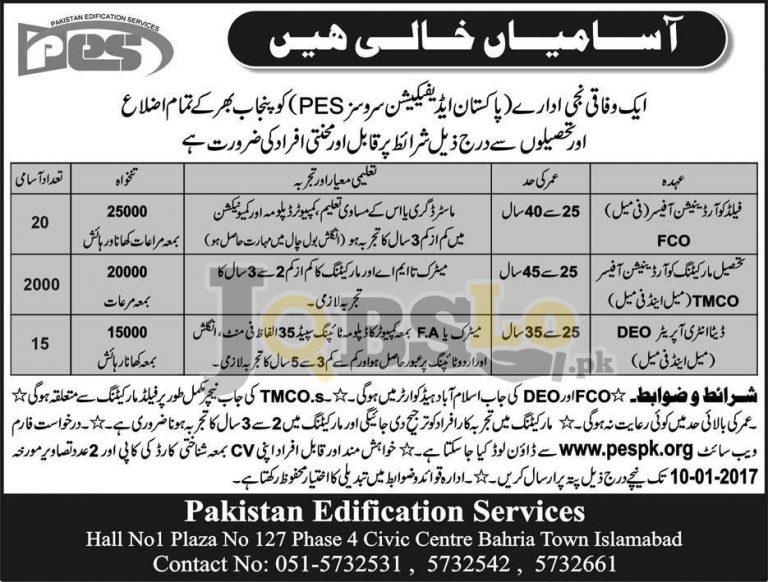 Pakistan Edification Services Punjab Jobs 2017 Online Application Form pespk.org