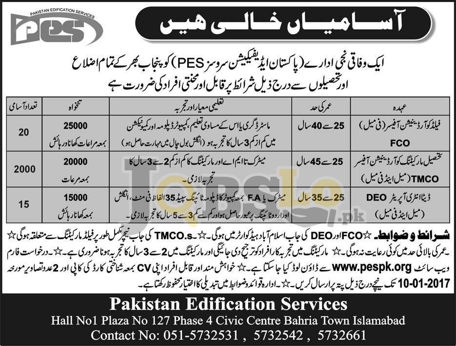 Pakistan Edification Services Punjab Jobs