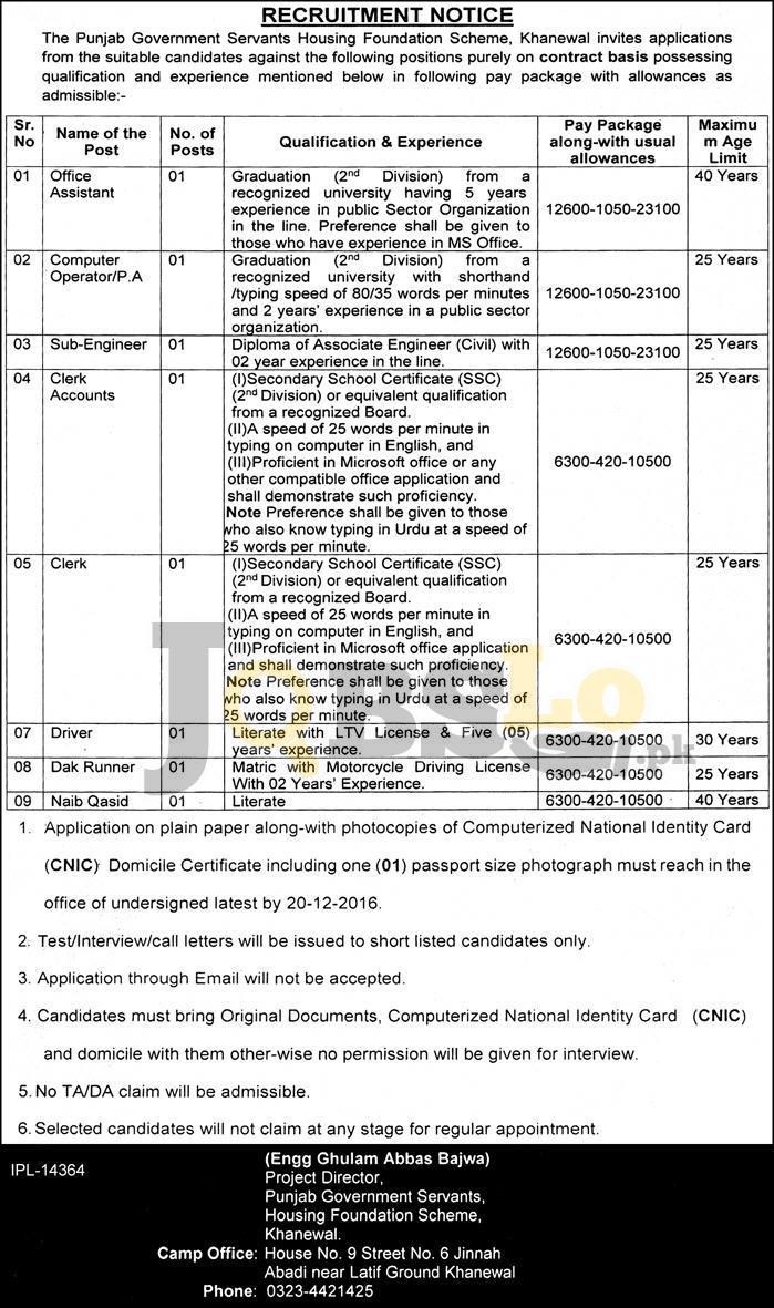 PGSHF Scheme Jobs