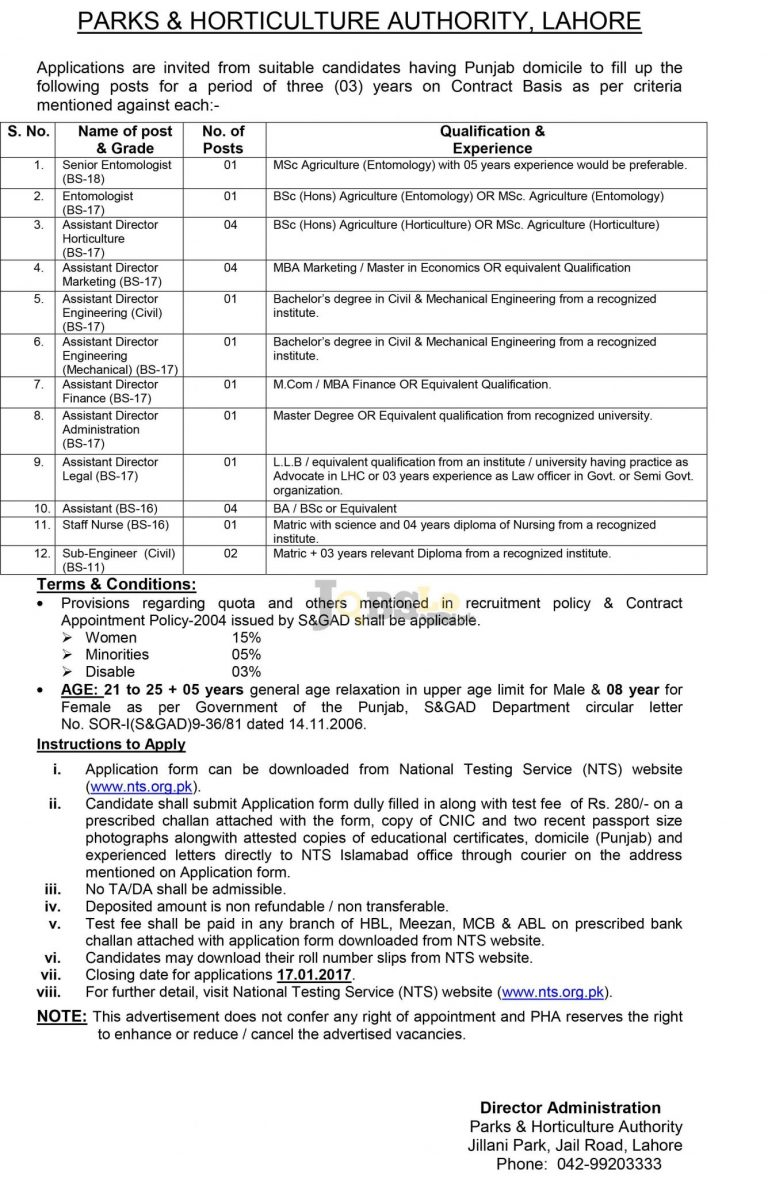 Parks & Horticulture Authority Lahore Jobs 2016 NTS Test Date & Sample Paper