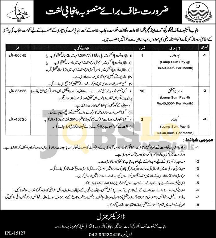 Punjab Institute of Language, Arts and Culture Lahore Jobs
