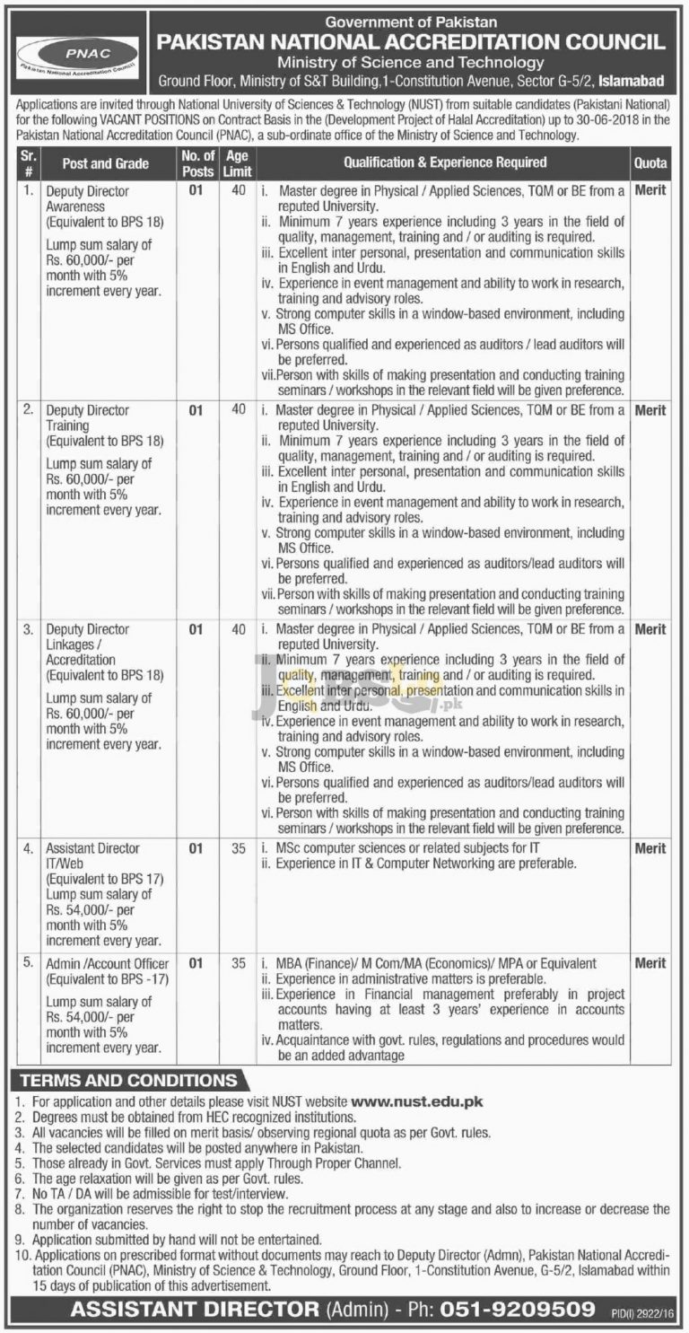 PNAC Pakistan Jobs Dec 2016 Ministry of Science & Technology Form Download