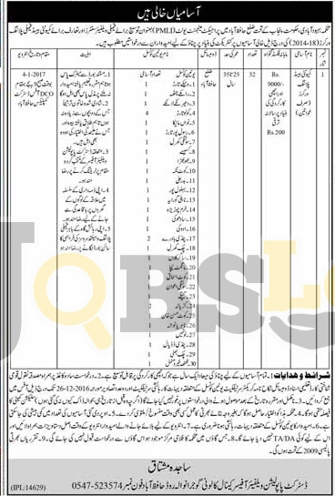 Population Welfare Dpt Hafizabad Jobs