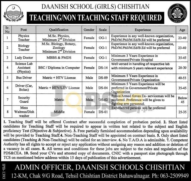 Daanish School Chishtian Jobs 2016 For Male & Females Govt of Punjab