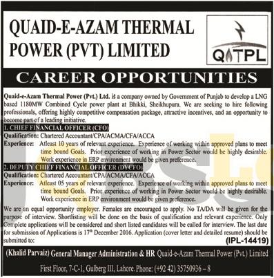 Quaid-e-Azam Thermal Power Punjab Jobs 2016 Employment Opportunities
