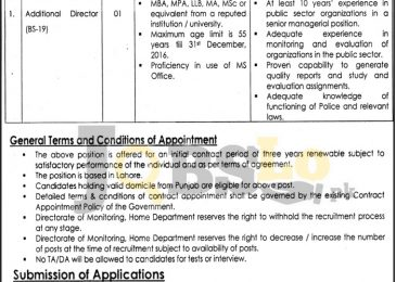 Directorate Of Monitoring Home Department Lahore Jobs 2017 Govt of Punjab Add