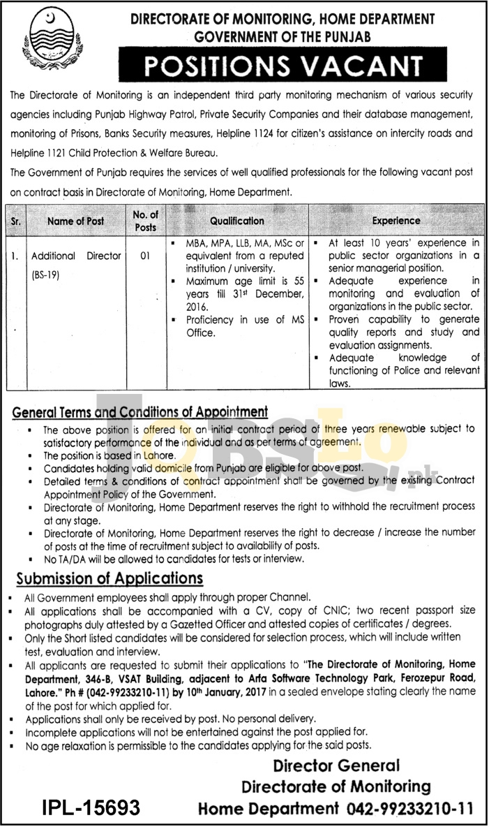 Directorate of Monitoring Jobs