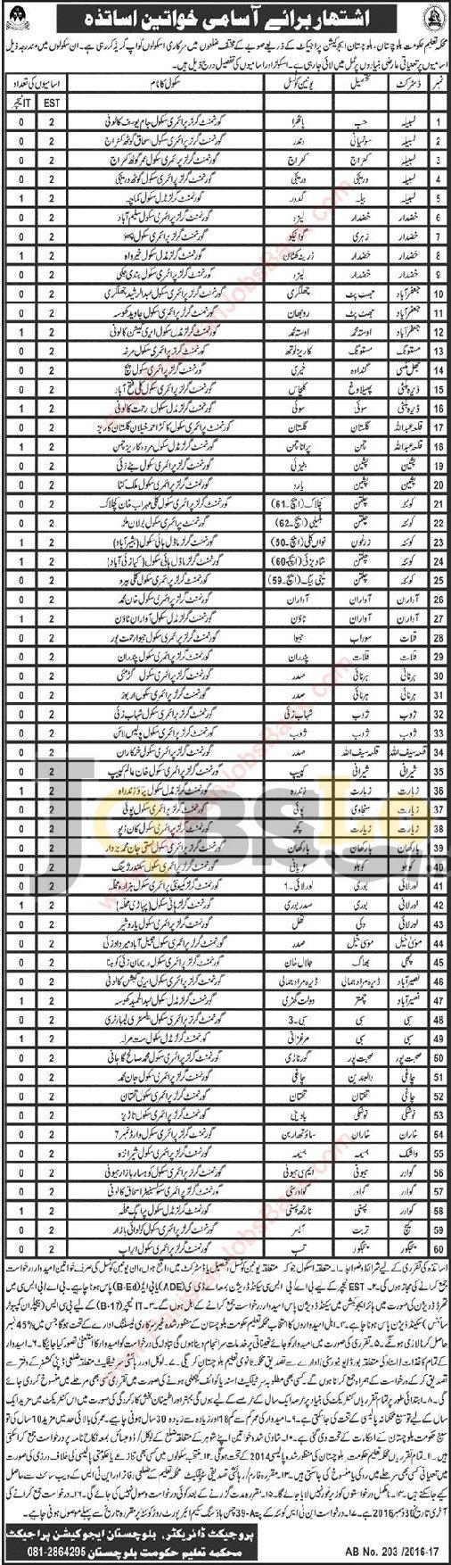 Education Department Balochistan Jobs 2016 For EST & IT Teachers Online NTS Form