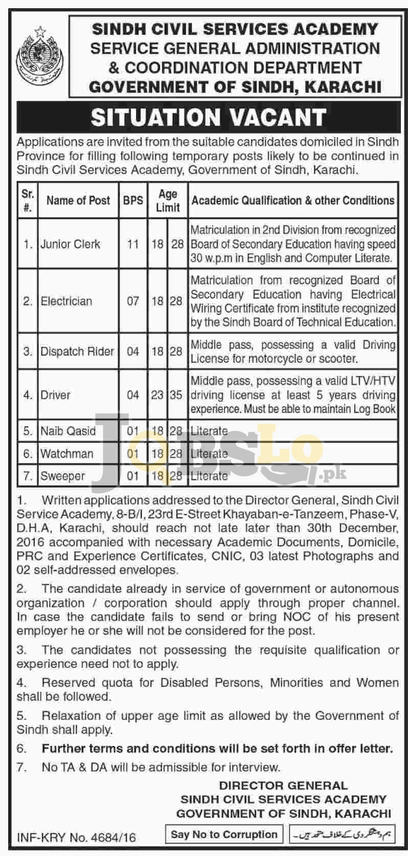 Sindh Civil Services Academy Karachi Jobs