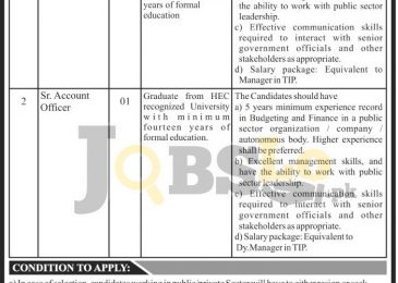 Telephone Industries of Pakistan Jobs 2016 For Sr Accounts Officer Eligibility Criteria
