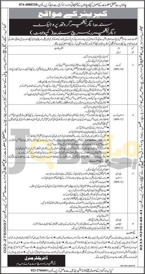 Sindh Agricultural Growth Project Jobs 2016 Advertisement Latest