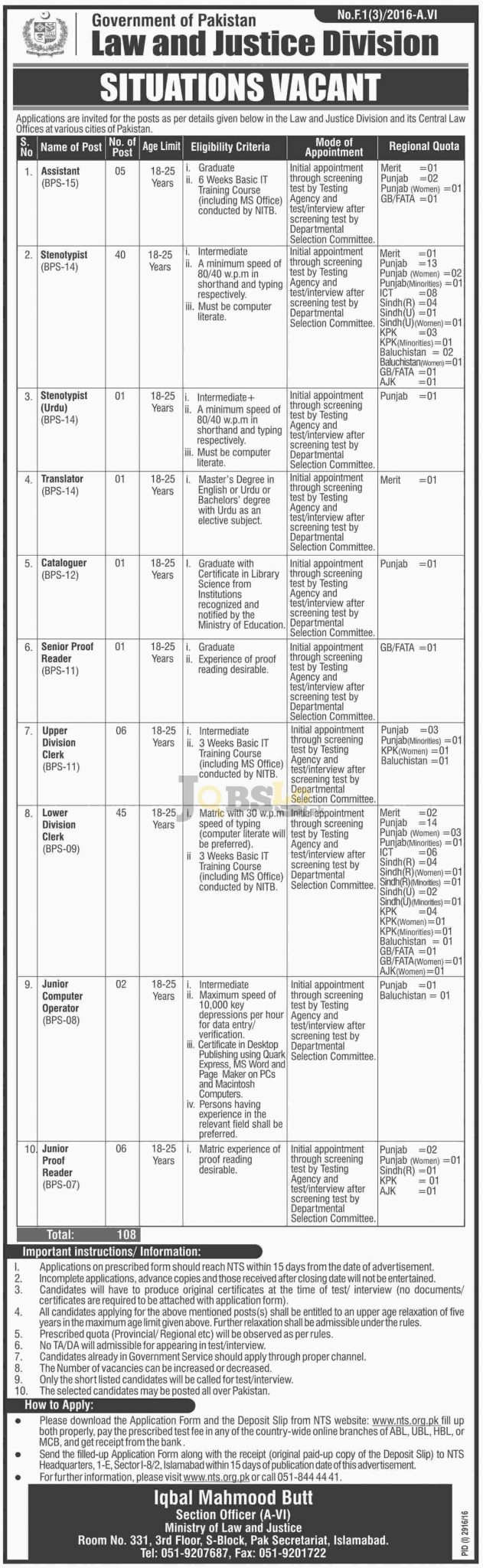 Law & Justice Division Pakistan Jobs