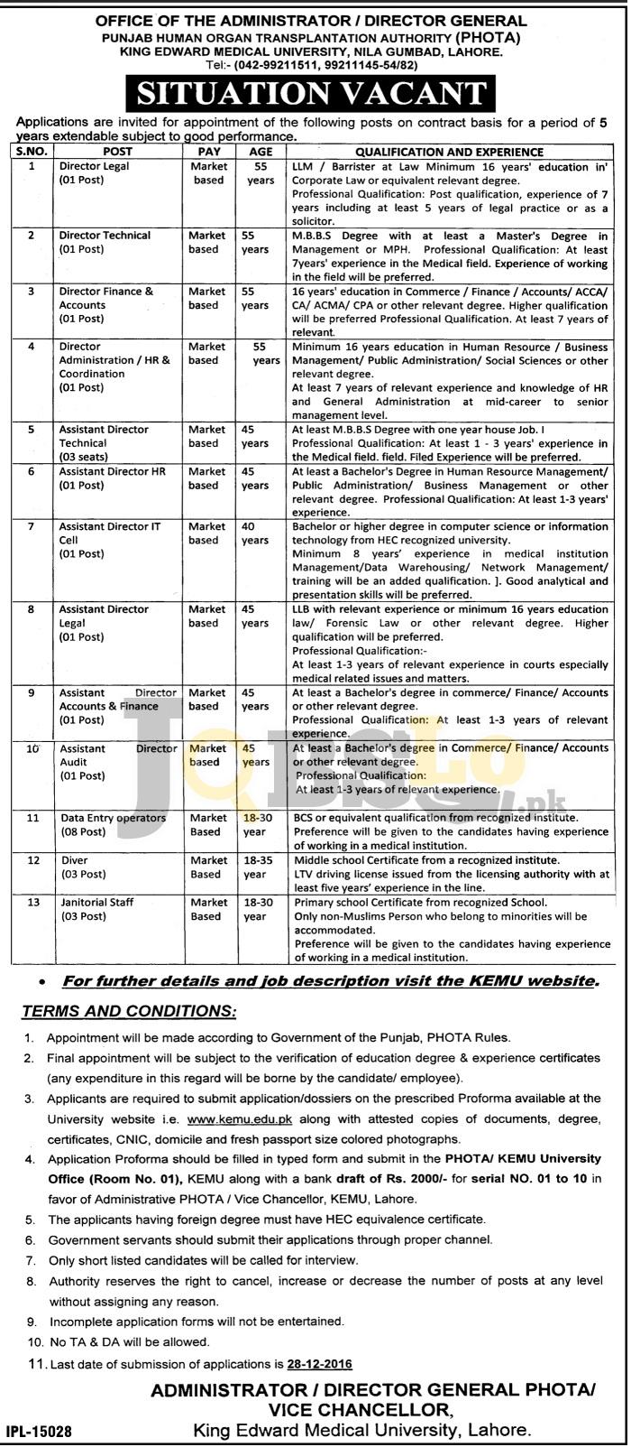 King Edward Medical University Lahore Jobs 2016-2017 Application Form Download