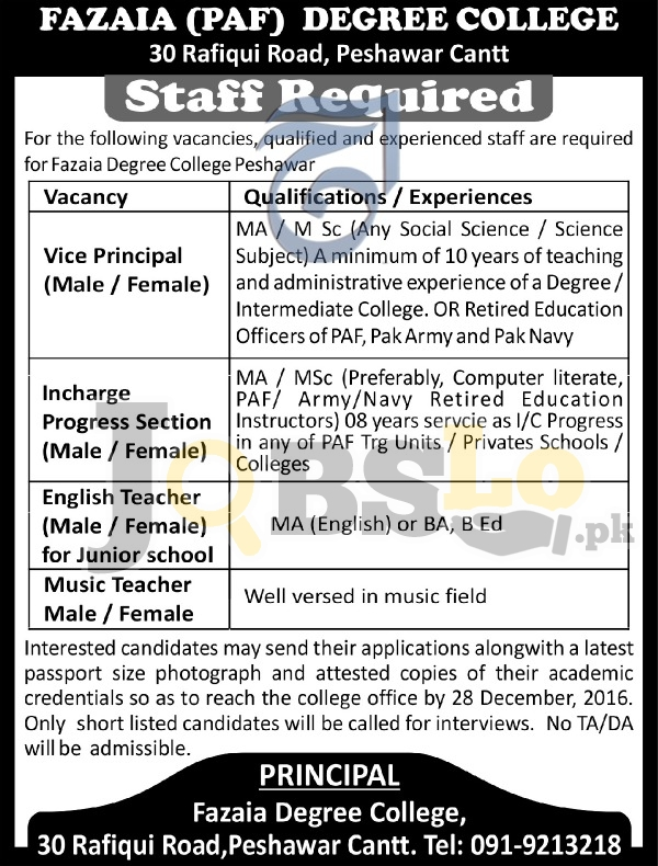 Fazaia Degree College Peshawar Jobs 2016-2017 Staff Required Latest