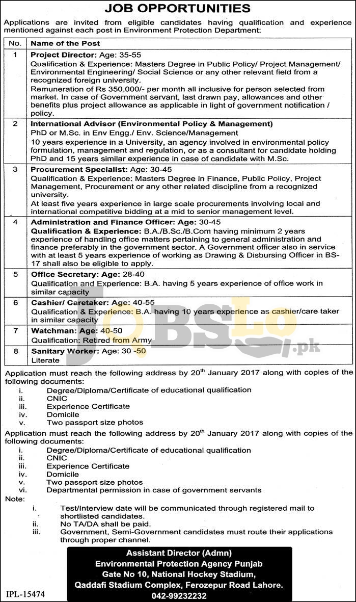 Environment Protection Department Punjab Jobs