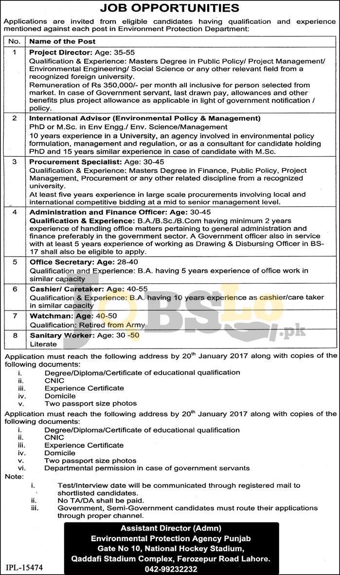 Environment Protection Department Punjab Jobs
