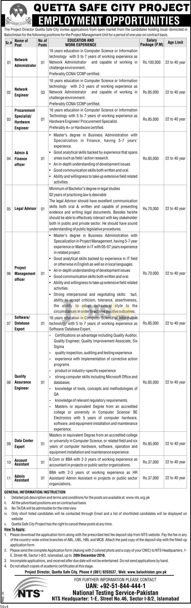 Quetta Safe City Jobs 2016 NTS Online Application Form nts.org.pk