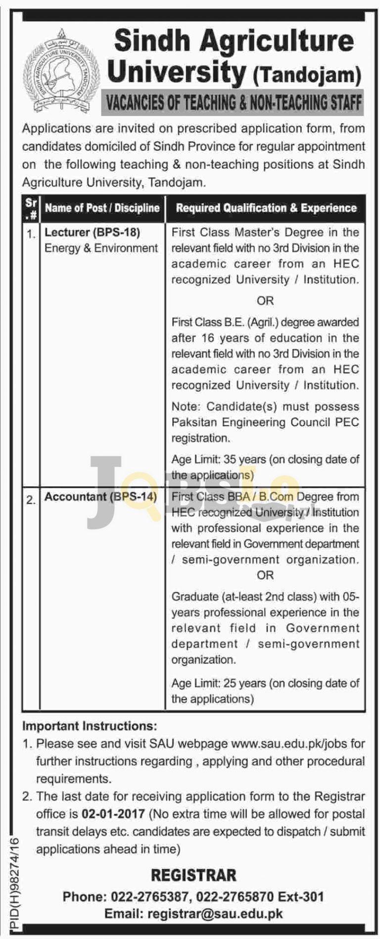 Lecturer Jobs 2016-17 in Sindh Agriculture University Tandojam Online Form