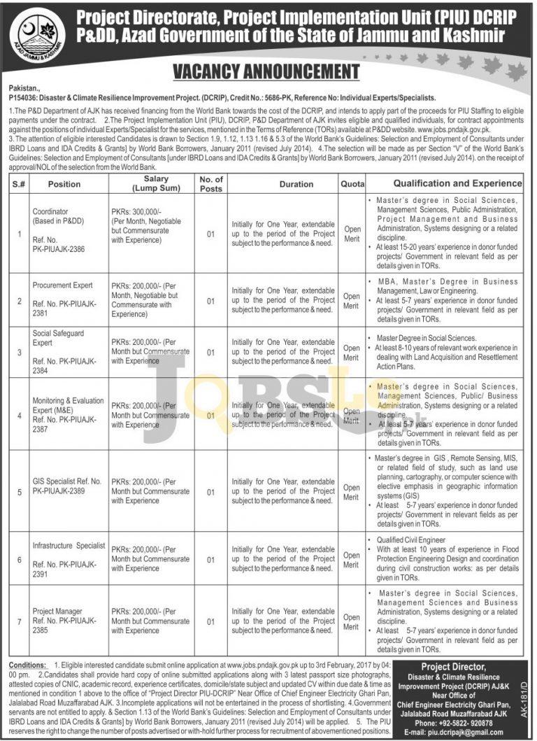 Planning & Development Department AJK Jobs Jan 2017 Online Apply Latest
