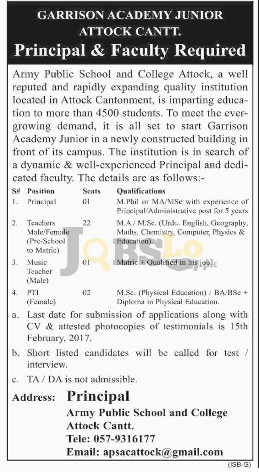 Army Public School & College Attock Jobs