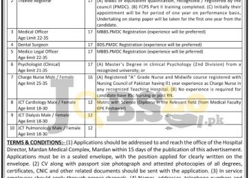 Mardan Medical Complex & Bacha Khan Medical College Jobs 2017 Latest Add