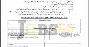 District & Session Court Bannu Jobs