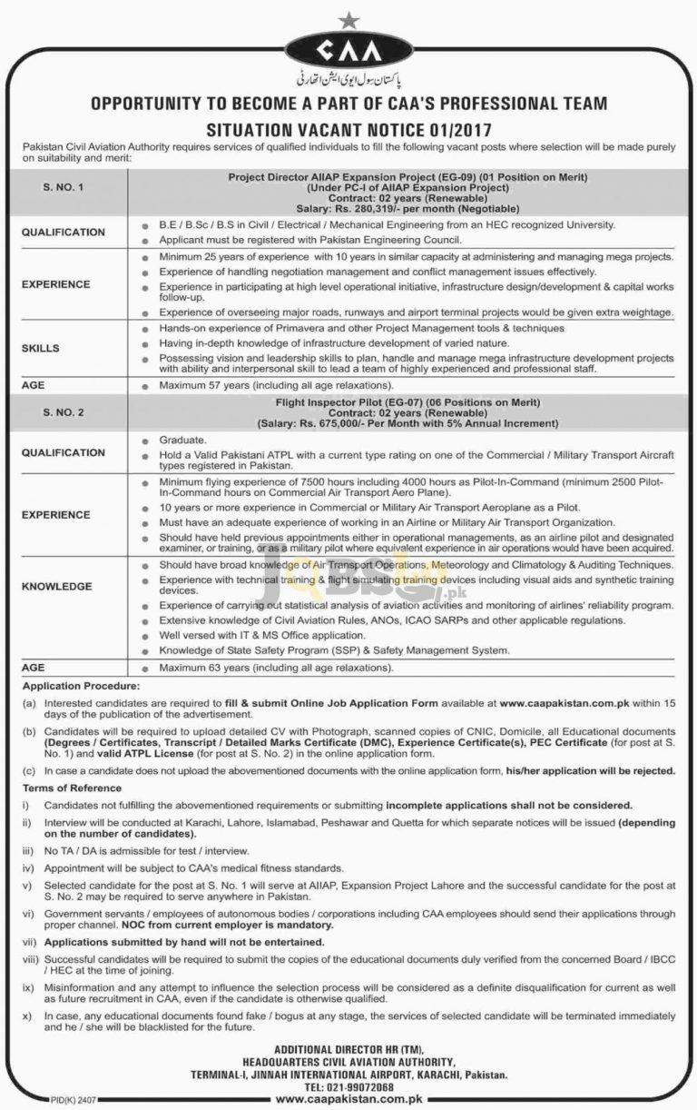 Civil Aviation Authority Pakistan Jobs 2016 Latest Add caaakistan.com.pk