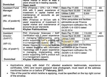 Finance Department Peshawar Jobs Jan 2017 For Fund Manager Latest Add